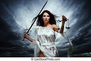 bogini, burzowy, femida, sprawiedliwość, skalpy, niebo, przeciw, dramatyczny, miecz