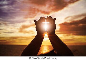 bojowy, eucharystia, otwarty, dłoń, zwycięstwo, ludzki, bóg, katolik, do góry, repent, chrześcijanin, wielkanoc, pojęcie, porcja, wielki post, siła robocza, pamięć, tło., pray., błogosławić, zakon, worship., terapia