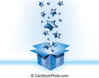 boks, błękitne tło, dar, gwiazdy, biały