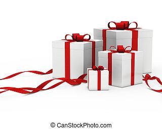 boks, biały, dar, czerwona wstążka