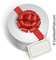 boks, dar, klasyk, łuk, czerwona wstążka