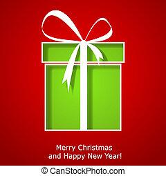 boks, dar, nowoczesny, powitanie, boże narodzenie, kartka na boże narodzenie