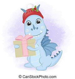 boks, dar, smok, boże narodzenie, illustration., zima