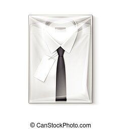 boks, koszula, klasyk, mężczyźni, etykieta, pakowanie, czarnoskóry wiążą, biały, przeźroczysty