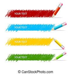 boks, ołówki, wektor, barwny, tekst
