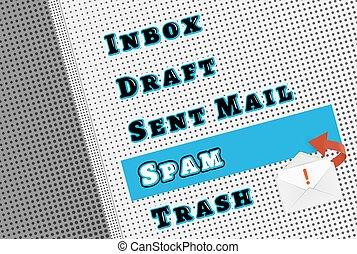 boks, poczta, filtr, spam, komik, menu