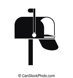 boks, poczta, ikona, styl, prosty
