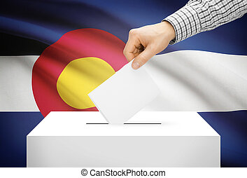 boks, pojęcie, kolorado, krajowy, -, bandera, tło, głosowanie, balotowanie