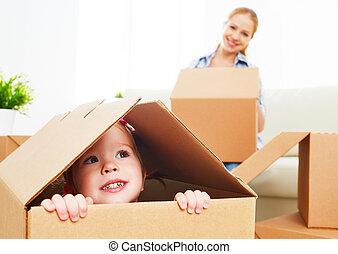 boks, porusza się, rodzina, niemowlę, nowy, apartment., tektura, szczęśliwy