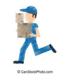 boks, praca, doręczenie, wyścigi, rysunek, człowiek