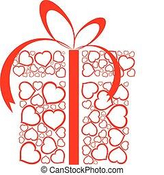 boks, robiony, miłość, stylizowany, niniejszy, serca, czerwony