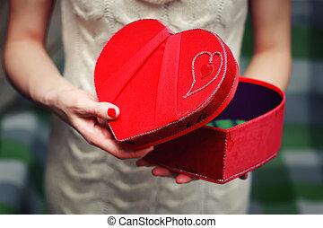 boks, serce, ręka, dar, valentine