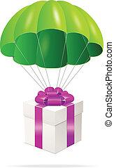boks, spadochron, zielony, dar