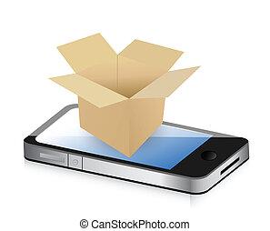 boks, telefon, pojęcie, przewóz, papier
