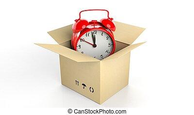 boks, zegar, alarm, odizolowany, tło., retro, biały, karton, czerwony