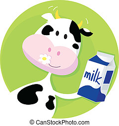 boks, zielony, mleczna krowa, szczęśliwy