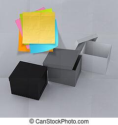 boks, zmięty, pojęcie, myślenie, klejowata nuta, zewnątrz, papier