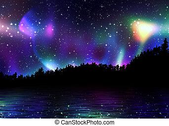 borealis, jutrzenka, barwny