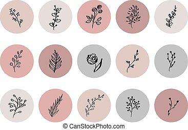 botaniczny, highlight, logo, kwiatowy, fotograf, pociągnięty, natural., szablon, historia, blogger, icon., ręka, herb., logo., studio., osłona, yoga, styl, kreska, ilustracje, fason