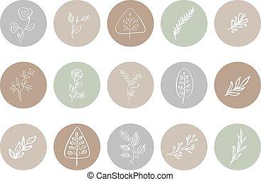 botaniczny, highlight, logo, kwiatowy, fotograf, pociągnięty, natural., szablon, historia, blogger, icon., ręka, herb., logo., studio., osłona, yoga, styl, monoline, ilustracje, fason