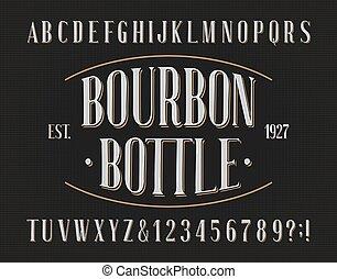 bourbon, retro, font., beletrystyka, alfabet, numbers., butelka