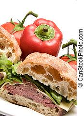 boursin, sandwicz, wołowina, ser, ciabatta, piec, bread