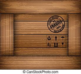 box., drewniany, rzeźnik, kruchy, struktura, wektor, bezpieczeństwo, ikona
