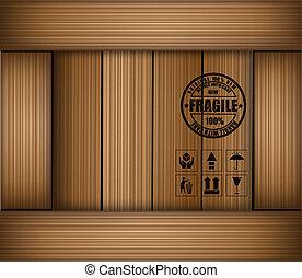 box., rzeźnik, kruchy, wektor, bezpieczeństwo, ikona