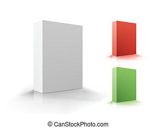 box., wektor, komplet, ilustracja