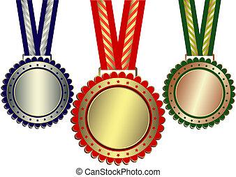 brąz, nagrody, srebro, (vector), złoty