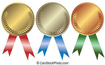 brąz, srebro, medals, złoty