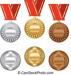 brąz, srebro, nagroda, złoty, medals