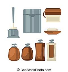 brązowy, łazienka, rzeczy, szary, zbiór, kolor