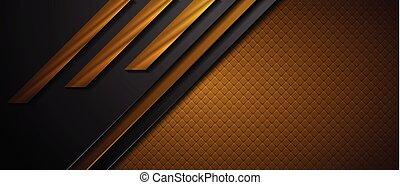 brązowy, abstrakcyjny, czarne tło, tech, geometryczny