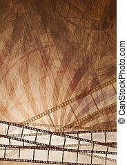 brązowy, abstrakcyjny, grunge, tło, filmstrip