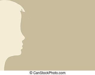 brązowy, głowa, sylwetka, ilustracja, tło, wektor