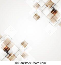 brązowy, geometryczny, kwadraty, tech, tło