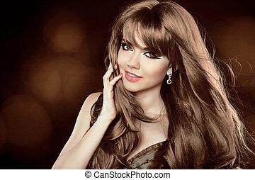 brązowy, hairstyle., kędzierzawy, długi, dziewczyna, pociągający, hair., woman., uśmiechnięty szczęśliwy