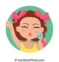 brązowy, mikrofon, ręka., włosy, dziewczyna, śpiew