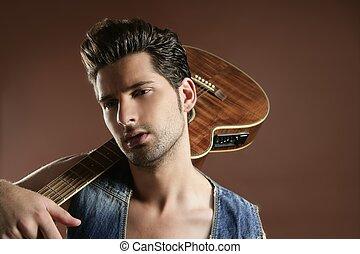 brązowy, muzyk, młody, gitarowy gracz, sexy, człowiek