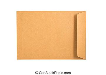 brązowy, obrzynek ścieżki, koperta, odizolowany, tło., included., biały