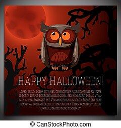 brązowy, posiedzenie, drzewo, halloween, ilustracja, chorągiew, wektor, pełzający, cielna, branch., sowa