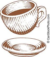 brązowy, rys, filiżanka, vectorized, kawa, ilustracja, atrament