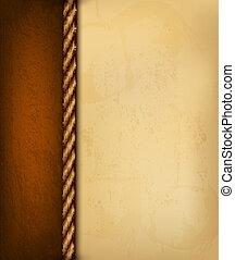 brązowy, stary, illustration., rocznik wina, leather., papier, wektor, tło