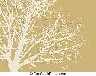 brązowy, sylwetka, drzewo, ilustracja, tło, wektor