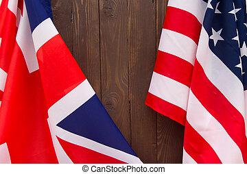 brązowy, usa, drewniany, tło., bandera, uk