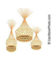 brązowy, wiklina, kosze, tło, bambus, biały