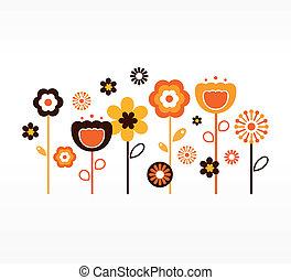 brązowy, ), (, zbiór, retro, wiosna, pomarańczowe kwiecie