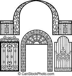 brama, wejście, drzwi, płot, rocznik wina