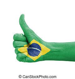 brazylia, do góry, kciuk, barwiony, symbol, ręka, bandera, doskonałość